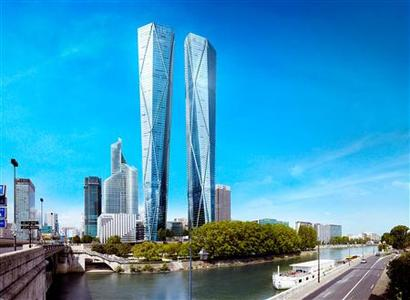 The project for the Hermitage Plaza towers, designed by British architect Norman Foster, in La Defense near Paris, is seen in a handout released by Hermitage Group on October 29, 2012. For Paris, a city whose priciest apartments boast mansard roofs and wrought-iron balconies, it's an audacious bet: a pair of shimmering, largely residential, luxury towers that might look more at home in Dubai or Shanghai. If the Hermitage Plaza towers do see the light of day, they could transform the concrete canyons of Paris's La Defense district, now nearly all offices. They could also spur more modern high-end residential construction in a city best-known for its grand 19th-century boulevards. REUTERS/Groupe Hermitage/Foster + Partners/Handout
