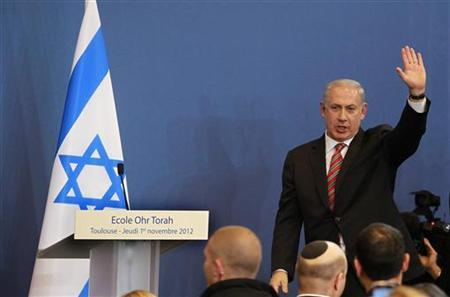 Israeli Prime Minister Benjamin Netanyahu waves during a ceremony at a Jewish school in Toulouse, southwestern France, November 1, 2012. REUTERS/Bob Edme/Pool