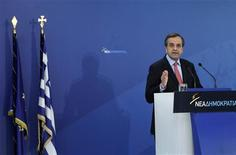 Greece's Prime Minister Antonis Samaras addresses his lawmakers at the headquarters of conservative New Democracy party in Athens November 4, 2012. Talk of Greece exiting the euro will end after critical votes in parliament this week on new austerity measures and the 2013 budget, Greek Prime Minister Antonis Samaras said on Sunday. REUTERS/John Kolesidis