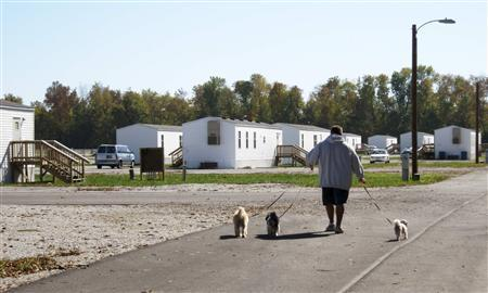 Jason Calvin Walks His Dogs In Joplin Missouri October 20 2012 At The FEMA Mobile Home Park Where He Lives An Affordable Place To Live Wake Of