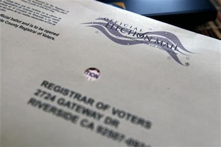 A mail-in ballot for the 2012 Presidential Election is shown in its envelope in Palm Springs, California October 26, 2012. REUTERS/Sam Mircovich