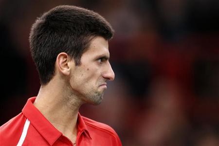 Novak Djokovic of Serbia reacts during his match against Sam Querrey of the U.S. during the Paris Masters tennis tournament October 31, 2012. REUTERS/Benoit Tessier