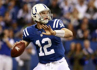 Indianapolis Colts quarterback Andrew Luck looks for a receiver against the Miami Dolphins during the fourth quarter of their NFL football game in Indianapolis, Indiana November 4, 2012. REUTERS/Brent Smith