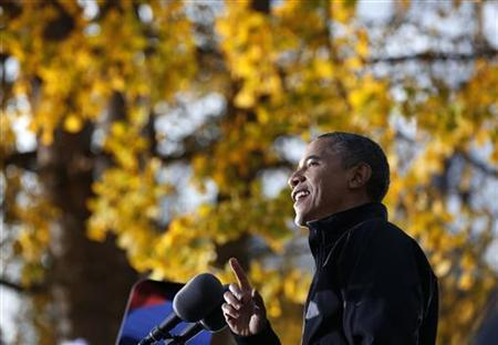 U.S. President Barack Obama addresses crowd at a campaign event at Washington Park in Dubuque, Iowa, November 3, 2012. REUTERS/Larry Downing