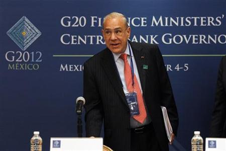 Organisation for Economic Co-operation and Development (OECD) Secretary General Angel Gurria arrives for a news conference as part of the G20 meeting in Mexico City November 4, 2012. REUTERS/Edgard Garrido