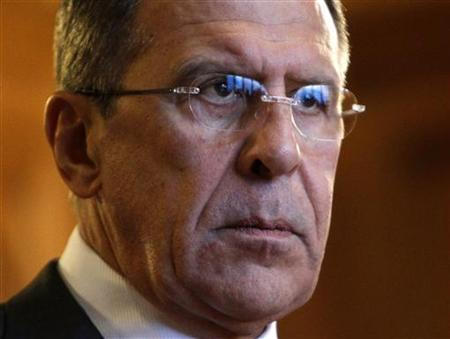 Russia's Foreign Minister Sergei Lavrov meets with the media after a meeting with U.N.-Arab League peace envoy Lakhdar Brahimi in Moscow October 29, 2012. REUTERS/Maxim Shemetov