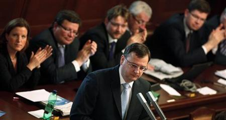 Czech Prime Minister Petr Necas speaks during a parliamentary confidence vote in Prague April 27, 2012. REUTERS/Petr Josek
