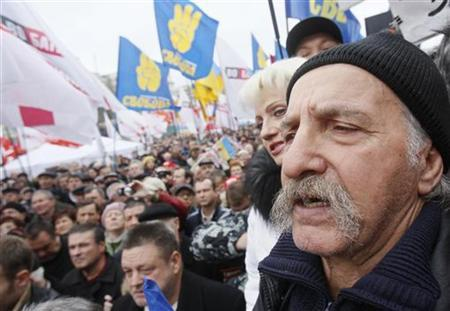 Supporters of opposition parties attend a rally in front of Ukraine's central electoral commission in Kiev November 5, 2012. REUTERS/Gleb Garanich