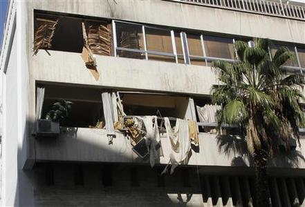 Damage on the labour union building is pictured after an explosion in Damascus November 4, 2012. REUTERS/Khaled al- Hariri