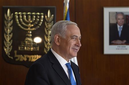 Israel's Prime Minister Benjamin Netanyahu leaves after making a televised statement to Reuters at the Knesset, the Israeli parliament, in Jerusalem November 5, 2012. REUTERS/Baz Ratner