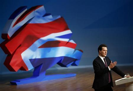 Britain's Chancellor of the Exchequer, George Osborne, delivers his keynote speech at the Conservative Party's annual conference, in Birmingham, central England October 8, 2012. REUTERS/Darren Staples
