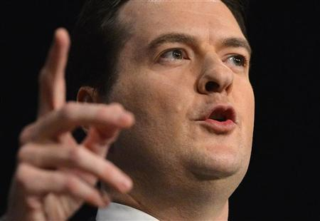 Britain's Chancellor of the Exchequer, George Osborne, delivers his keynote speech at the Conservative Party's annual conference, in Birmingham, central England October 8, 2012. REUTERS/Toby Melville