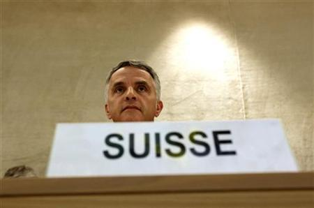 Swiss foreign minister Didier Burkhalter looks on prior to his address to the Universal Period Review panel of the Human Rights Council at the United Nations in Geneva October 29, 2012. REUTERS/Denis Balibouse