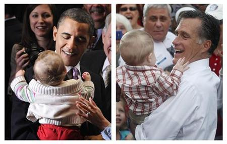 A combination file photographs shows U.S. President Barack Obama holding Veronique Dimyan in Alexandria, Virginia on March 30, 2010 and Republican presidential nominee Mitt Romney holding a baby in Lebanon, Ohio on October 13, 2012. REUTERS/Jonathan Ernst, Shannon Stapleton/Files