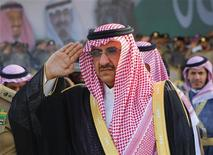 Saudi Prince Mohammed bin Nayef salutes during a Saudi special forces graduation ceremony near Riyadh in this September 25, 2012 file photo. REUTERS/Fahad Shadeed/Files