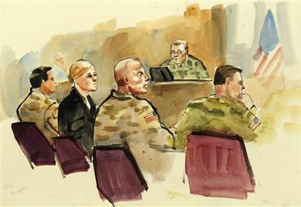 This photograph of a courtroom sketch by artist Lois Silver shows U.S. Army soldier Staff Sgt. Robert Bales, (2nd R) and his defense attorneys Emma Scanlan (2nd L) and Maj. Gregory Malson (L) at the start of the military Article-32 Investigation, a U.S. Courts Martial pre-trial proceeding, at Joint Base Lewis-McChord in Washington November 5, 2012. A U.S. Army soldier accused of killing 16 Afghan villagers in a drunken rampage in March faces the military version of a preliminary hearing starting on Monday to determine if there is sufficient evidence for a court martial. Bales is accused of killing Afghan villagers in a drunken rampage on March 11, 2012 and faces 16 counts of premeditated murder. Also pictured in this courtroom sketch is military prosecuting attorney Maj. Rob Stelle (R) and presiding investigation officer Col. Lee Demecky. REUTERS/Anthony Bolante