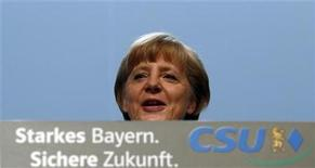 German Chancellor Angela Merkel delivers a guest speech at a Christian Social Union (CSU) party meeting in Munich October 19, 2012. REUTERS/Michael Dalder