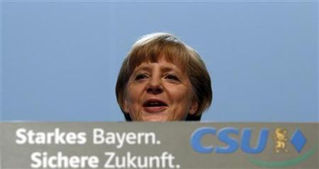 German Chancellor Angela Merkel delivers a guest speech at a Christian Social Union (CSU) party meeting in Munich October 19, 2012. REUTERS/Michael Dalder