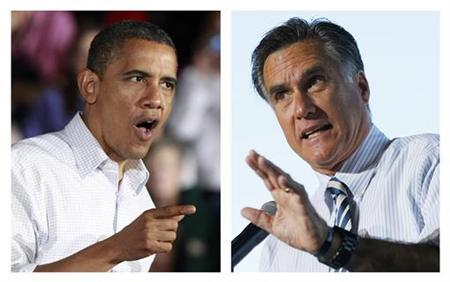 A combination file photographs shows U.S. President Barack Obama (L) speaking during a campaign rally in Mentor, Ohio on November 3, 2012 and Republican presidential nominee Mitt Romney speaking at a campaign rally in Tampa, Florida on October 31, 2012. REUTERS/Jason Reed, Brian Snyder/Files