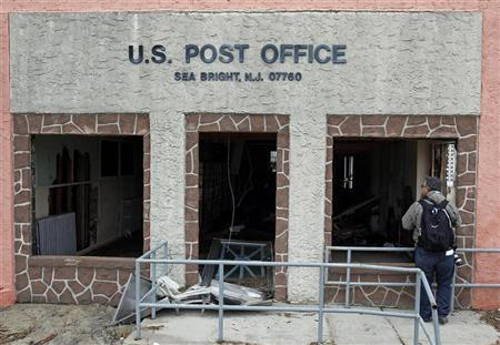 A U.S. Post Office building damaged by Hurricane Sandy is seen in Sea Bright, New Jersey, November 1, 2012. REUTERS/Adam Hunger