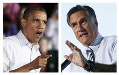 Os dois candidatos à eleição presidencial dos Estados Unidos, Barack Obama (E) e Mitt Romney (D) são vistos durante eventos de camapanha nos EUA. O presidente dos EUA e seu desafiante republicano encerraram sua campanha na segunda-feira percorrendo Estados que deverão ser estratégicos para definir a acirrada disputa dos últimos meses pela Casa Branca. 03/11/2012 REUTERS/Jason Reed (Obama) e 31/10/2012 Brian Snyder/Files (Romney)