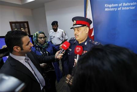 Bahrain's Police Chief Tariq Al Hassan speaks during a media briefing on details of five bomb explosions in the heart of Manama November 5, 2012. REUTERS/HAMAD I MOHAMMED