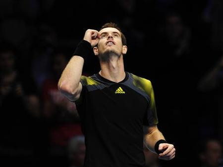 Andy Murray of Britain celebrates defeating Tomas Berdych of Czech Republic in their men's singles tennis match at the ATP World Tour Finals in the O2 Arena in London November 5, 2012. REUTERS/Kieran Doherty