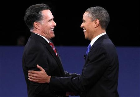 U.S. Republican presidential nominee Mitt Romney (L) and U.S. President Barack Obama shake hands at the conclusion of the final U.S. presidential debate in Boca Raton, Florida, October 22, 2012. REUTERS/Jason Reed