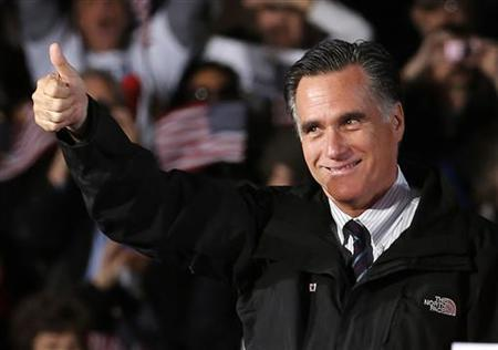 U.S. Republican presidential nominee and former Massachusetts Governor Mitt Romney gives the thumbs up during a campaign rally in Columbus, Ohio, November 5, 2012. REUTERS/Jim Young
