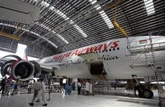 Kenya Airways Boeing B777-200ER plane is seen during a media tour at their maintenance hangar in Nairobi, October 2, 2008. REUTERS/Antony Njuguna