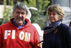 Il leader della Fiom Maurizio Landini (a sinistra) con il segretario generale della Cgil Susanna Camusso. REUTERS/Stringer