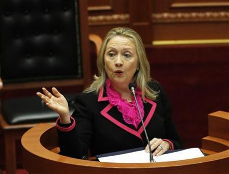 U.S. Secretary of State Hillary Clinton speaks in the Albanian Parliament during her official visit in Tirana November 1, 2012. REUTERS/Arben Celi