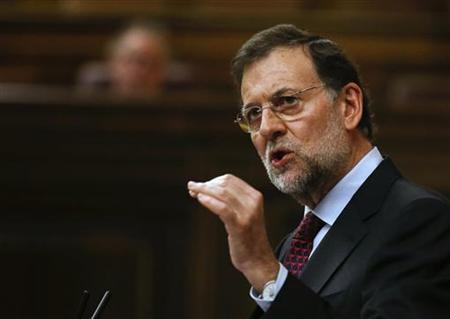 Spain's Prime Minister Mariano Rajoy delivers a speech on the results of the last European Council at the Spanish parliament in Madrid October 31, 2012. REUTERS/Andrea Comas