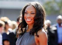 London 2012 Olympics gold medallist runner Allyson Felix arrives at the 2012 Primetime Creative Arts Emmy Awards in Los Angeles September 15, 2012. REUTERS/Danny Moloshok