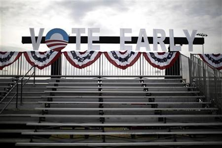 A Vote Early sign is pictured before supporters of U.S. President Barack Obama arrive to participate in an election campaign rally in Las Vegas, Nevada, November 1, 2012. REUTERS/Jason Reed