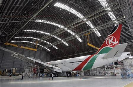 A Kenya Airways Boeing B777-200ER plane is seen during a media tour at their maintenance hangar in Nairobi October 2, 2008. REUTERS/Antony Njuguna