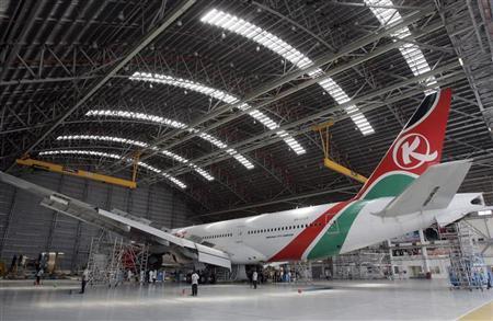 A Kenya Airways Boeing B777-200ER plane is seen during a media tour at their maintenance hangar in Nairobi October 2, 2008. REUTERS/Antony Njuguna