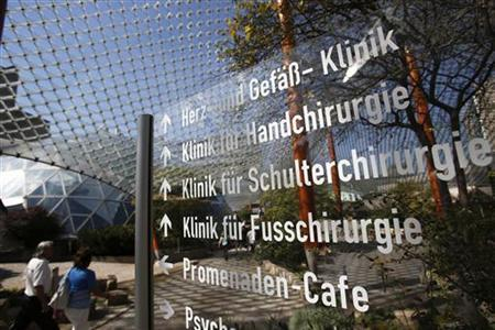 An access to hospital of German healthcare company Rhon-Klinikum AG is pictured in Bad Neustadt near Fulda September 3, 2012. REUTERS/Alex Domanski