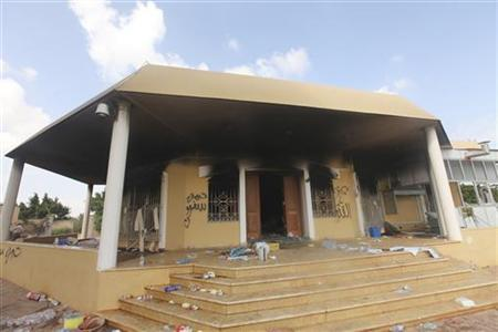 An exterior view of the U.S. consulate, which was attacked and set on fire by gunmen yesterday, in Benghazi September 12, 2012. REUTERS/Esam Al-Fetori