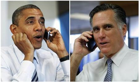 A combination photograph shows U.S. President Barack Obama making a phone call to a volunteer for his campaign during a visit to a campaign field office in Chicago, and Republican presidential nominee Mitt Romney (R) talking to the supervisor of a Wedny's Restaurant during an impromptu visit in Richmond Heights, Ohio respectively on election day, November 6, 2012. REUTERS/Jason Reed (obama), Brian Snyder (Romney) (UNITED STATES - Tags: POLITICS ELECTIONS USA PRESIDENTIAL ELECTION TPX IMAGES OF THE DAY)