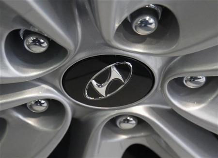 The logo of Hyundai Motor is seen on a wheel of a car at a Hyundai dealership in Seoul February 1, 2012. REUTERS/Kim Hong-Ji