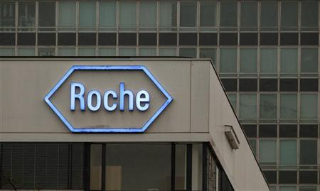 The logo of Swiss pharmaceutical company Roche is seen at the company's headquarters in Basel April 5, 2012. REUTERS/Arnd Wiegmann