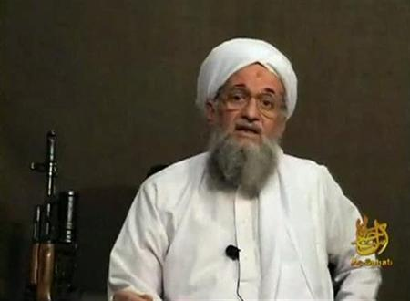 EDITOR'S NOTE: REUTERS IS UNABLE TO INDEPENDENTLY VERIFY THE CONTENT OF THE VIDEO FROM WHICH THIS STILL IMAGE WAS TAKEN. Al Qaeda's second-in-command Ayman al-Zawahri speaks from an unknown location, in this still image taken from video uploaded on a social media website June 8, 2011. REUTERS/Social Media Website via Reuters TV/Files