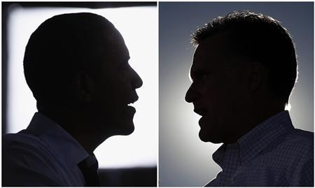 A combination file silhouettes show U.S. President Barack Obama speaking in Windham, New Hampshire on August 18, 2012, and Republican presidential nominee Mitt Romney (R) speaking in Davenport, Iowa on October 29, 2012 respectively in 2012 U.S. presidential campaign. REUTERS/Kevin Lamarque (Obama), Brian Snyder (Romney)