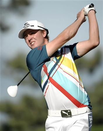 Jonas Blixt of Sweden hits his tee shot on the second hole on the the south course at Torrey Pines during final round play at the Farmers Open PGA golf tournament in San Diego, California January 29, 2012. REUTERS/Denis Poroy