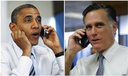 Комбинация фотографий президента США Барака Обамы и кандидата в президенты от республиканцев Митта Ромни в день голосования, 6 ноября 2012 года. Президент США Барак Обама добился успеха в Висконсине и Пенсильвании, ограничив продвижение своего соперника Митта Ромни к победе на президентских выборах, в ходе которых американцы делают выбор из двух резко различающихся взглядов на страну. REUTERS/Jason Reed, Brian Snyder