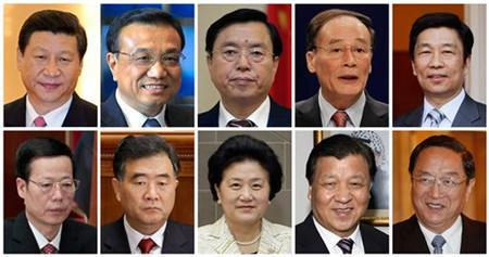 A combination picture shows the 10 main candidates sources said are vying for seven seats on China's ruling Communist Party party's next Politburo Standing Committee, the peak decision-making body which will steer the world's second-largest economy for the next five years. Top row from left to right: China's Vice President Xi Jinping, Vice Premier Li Keqiang, Vice Premier Zhang Dejiang, Vice Premier Wang Qishan, and Li Yuanchao, head of the Organization Department of the Communist Party of China. Bottom row from left to right: Zhang Gaoli, Secretary of the Tianjin Municipal Committee, Wang Yang, Party Secretary of the Guangdong Province, Liu Yandong, State Councillor of China, Liu Yunshan, member of China's Communist Party's leading Politburo and Yu Zhengsheng, Shanghai Party Secretary. REUTERS/Staff/Pool