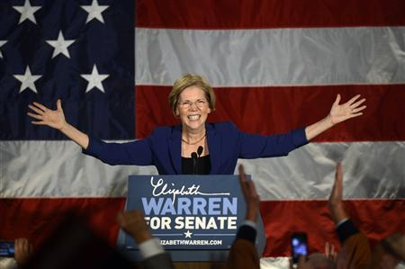 Democratic candidate for the U.S. Senate seat for Massachusetts Elizabeth Warren addresses supporters during her victory rally in Boston, Massachusetts, November 6, 2012. REUTERS/Gretchen Ertl