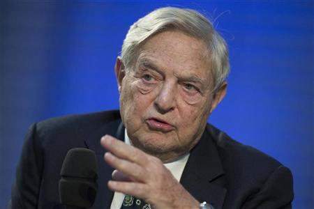 Soros Fund Management Chairman George Soros speaks during a panel discussion at the Nicolas Berggruen Conference in Berlin, October 30, 2012. REUTERS/Thomas Peter