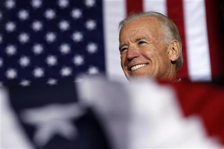U.S. Vice President Joe Biden smiles during a campaign stop in Richmond, Virginia November 5, 2012. REUTERS/Kevin Lamarque